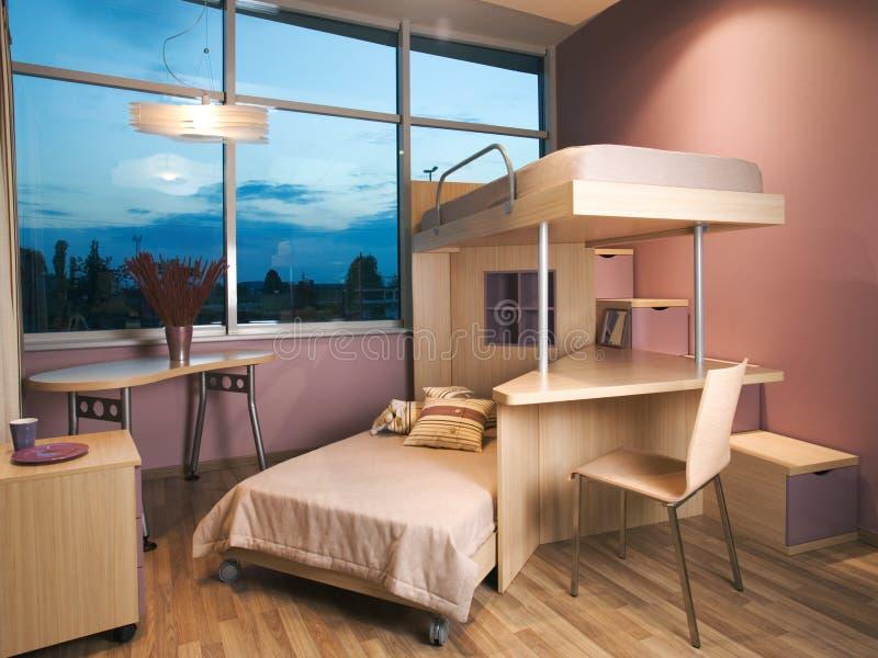 Projeto interior do quarto novo bonito e moderno. foto de stock