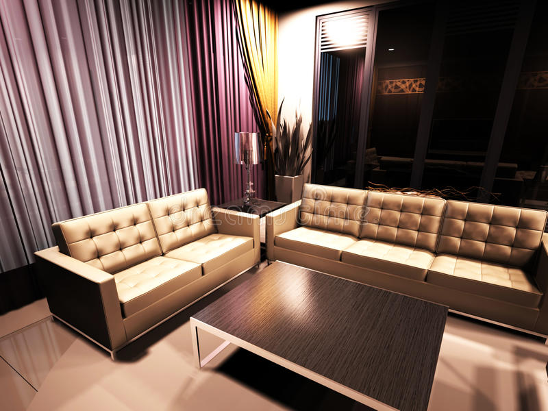Projeto interior moderno da sala de visitas ilustração do vetor