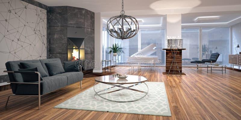 Projeto interior moderno da sala de visitas ilustração royalty free