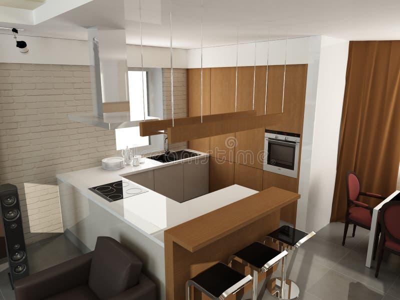Projeto interior moderno (o apartamento 3d do privat rende ilustração stock