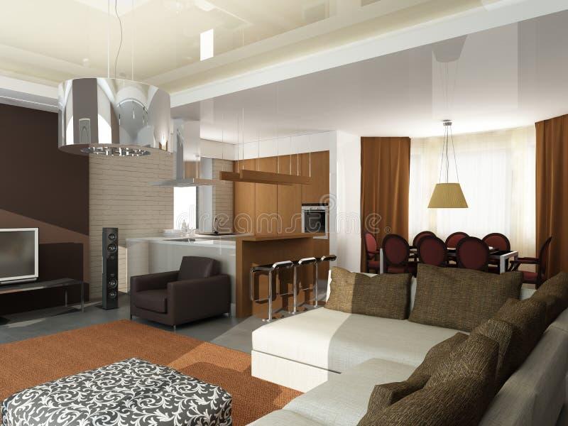 Projeto interior moderno (o apartamento 3d do privat rende ilustração do vetor