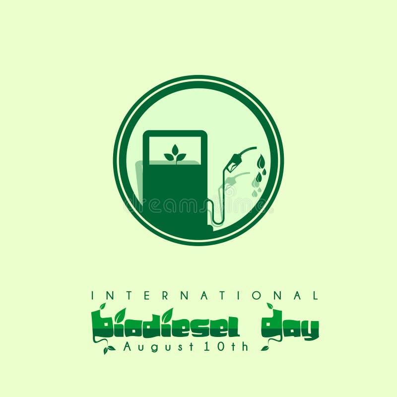 Projeto internacional do vetor do dia do biodiesel em 10o agosto ilustração stock