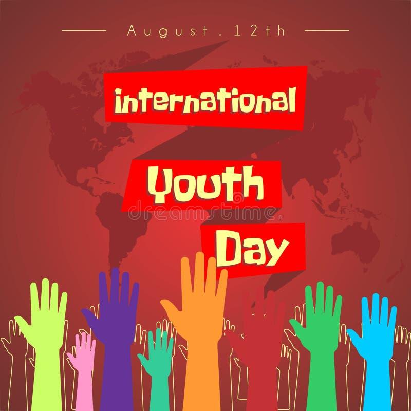 Projeto internacional do vetor do dia da juventude ilustração stock