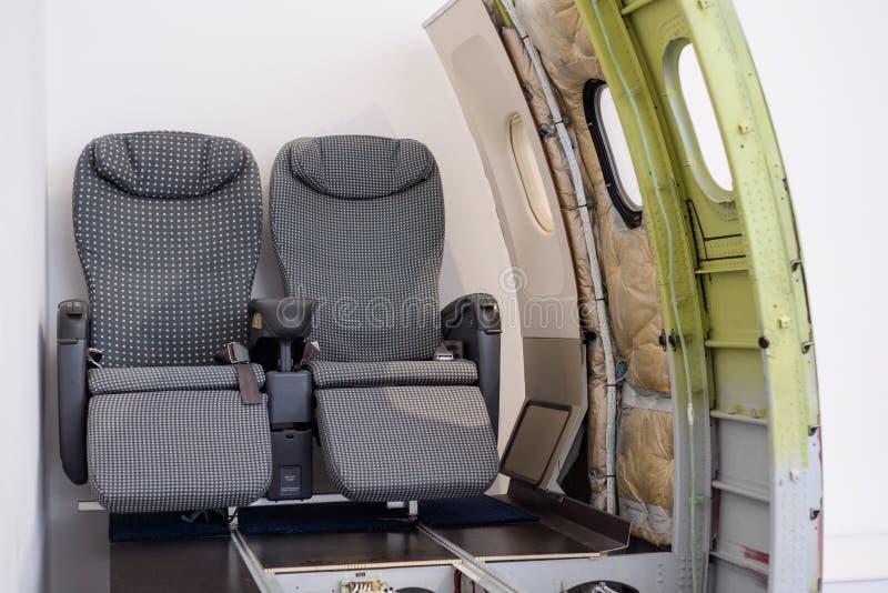 Projeto interno da fuselagem dos aviões de passageiro, assentos imagens de stock