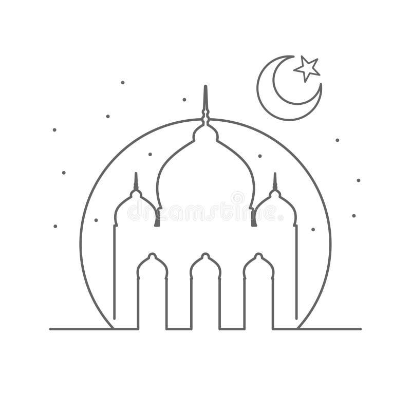 Projeto islâmico do símbolo da ilustração do esboço da mesquita ilustração royalty free