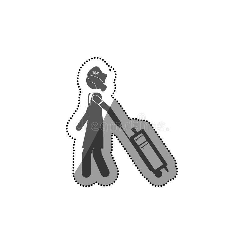 Projeto isolado da comissária de bordo do pictograma ilustração royalty free