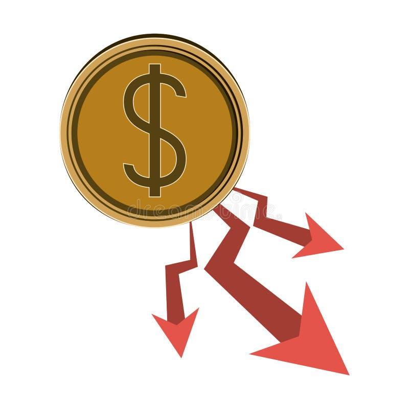 Projeto isolado da diminuição e do dinheiro ilustração royalty free