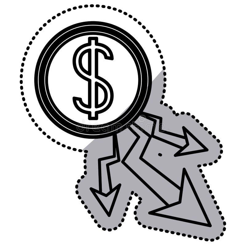 Projeto isolado da diminuição e do dinheiro ilustração stock