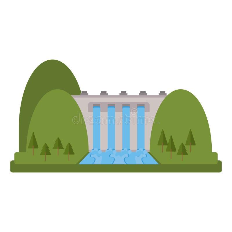 Projeto isolado da represa ilustração stock