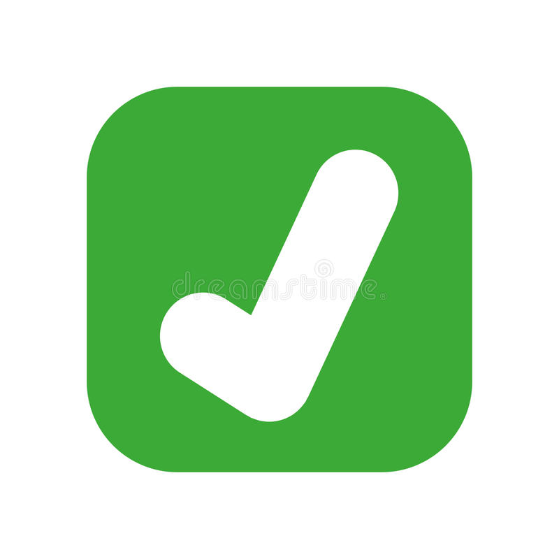 projeto isolado do ícone do botão aprovado do símbolo ilustração stock
