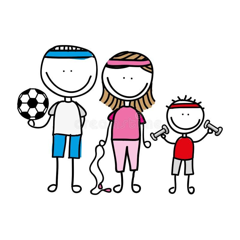 projeto isolado do ícone do esporte da família desenho feliz ilustração stock