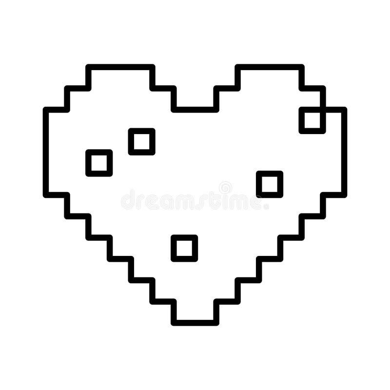 Projeto isolado do coração do pixel ilustração stock
