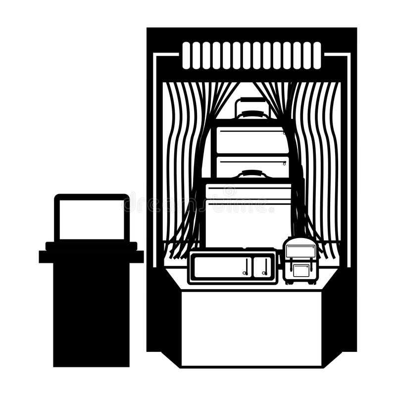 Projeto isolado do ponto de verificação da segurança aeroportuária ilustração stock