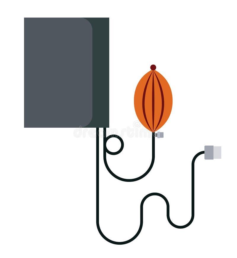 Projeto isolado medidor do ícone da pressão sanguínea ilustração do vetor