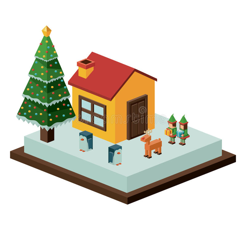 Projeto isométrico da casa e do pinheiro do Natal ilustração do vetor