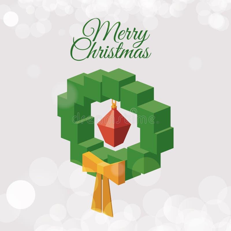 Projeto isométrico da coroa do pinho do Natal ilustração stock