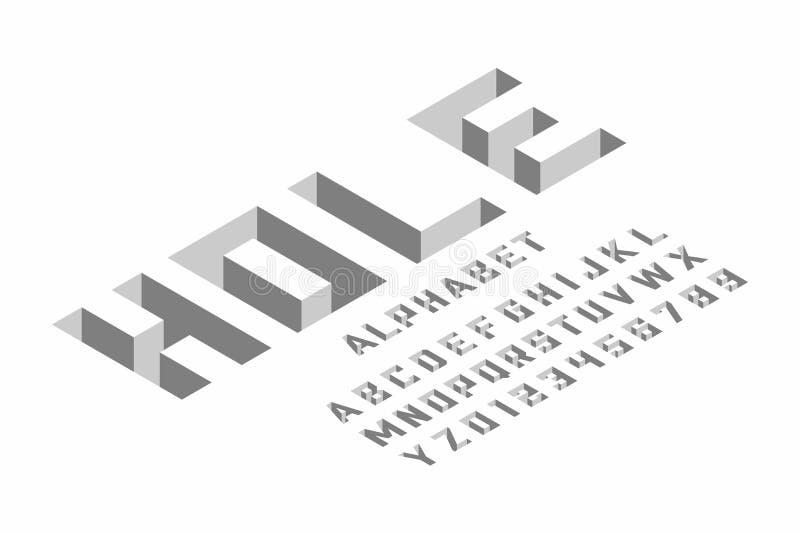 Projeto isométrico da fonte 3d ilustração do vetor