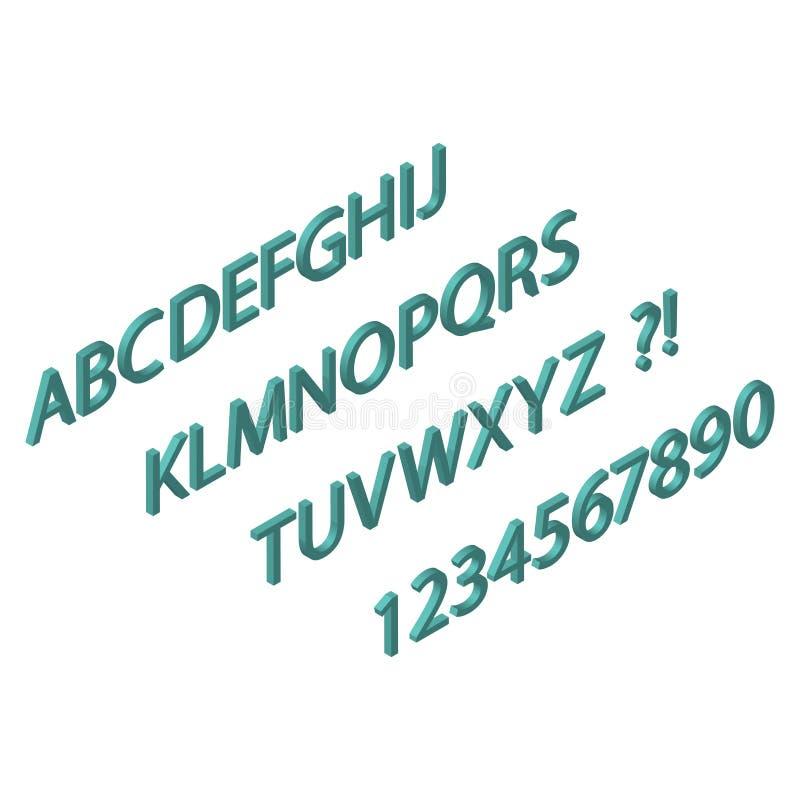 Projeto isométrico da fonte do Web site letras 3d e molde do vetor do alfabeto dos números Ilustração da página de Internet do de ilustração stock