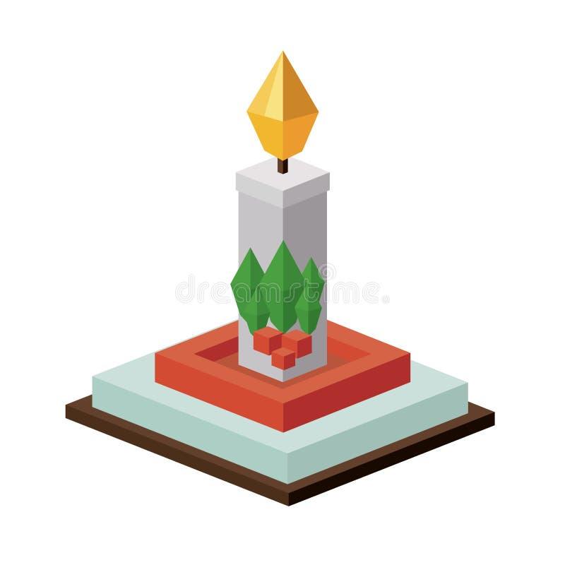 Projeto isométrico da vela do Natal ilustração royalty free