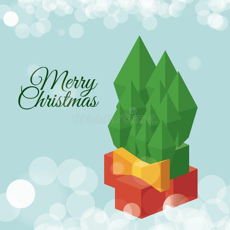 Projeto isométrico das folhas do pinho do Natal ilustração royalty free