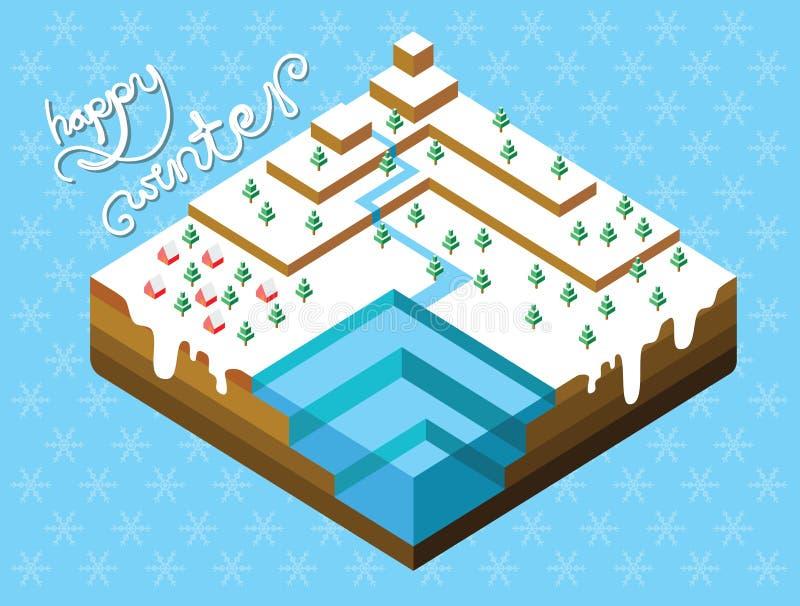 Projeto isométrico de Winterland ilustração royalty free