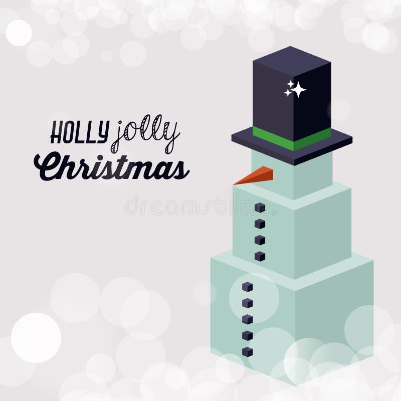Projeto isométrico do boneco de neve do Natal ilustração royalty free