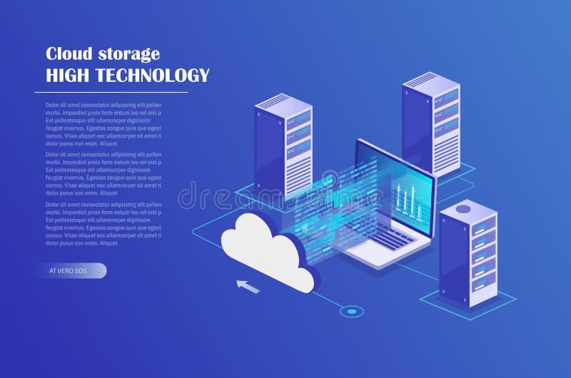 Projeto isométrico do conceito do armazenamento da nuvem ilustração royalty free