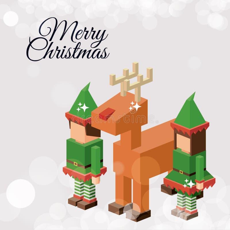 Projeto isométrico do duende e da rena do Natal ilustração do vetor
