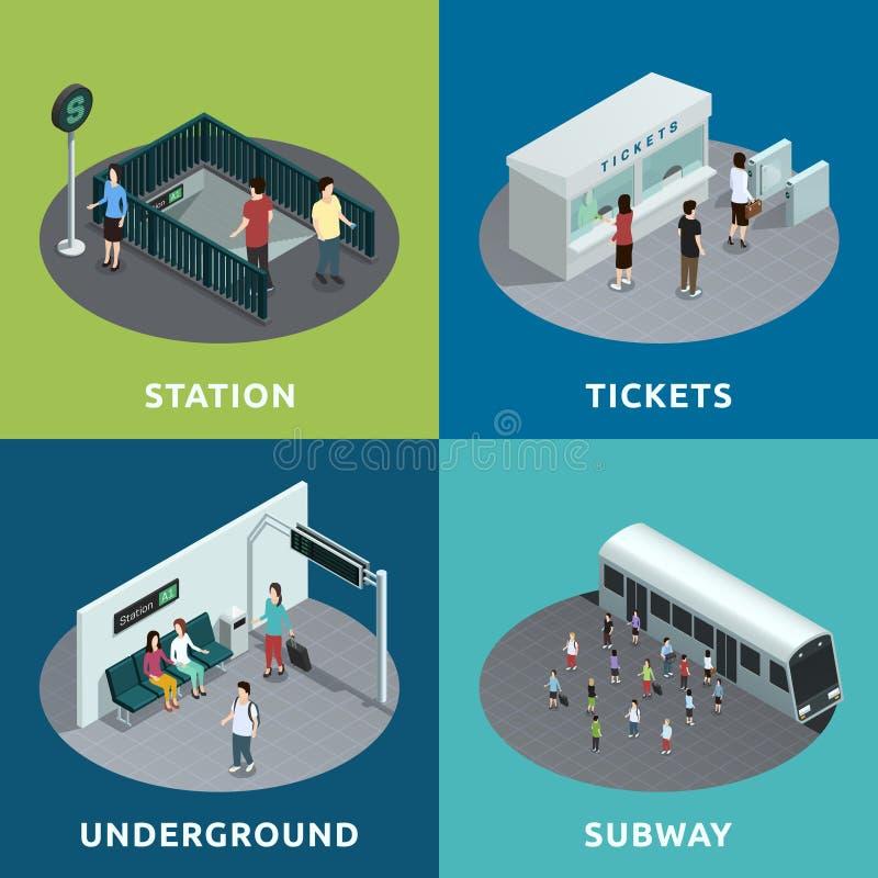 Projeto isométrico do metro ilustração stock