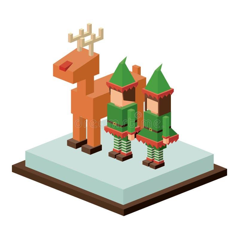 Projeto isométrico dos cervos e do duende do Natal ilustração royalty free