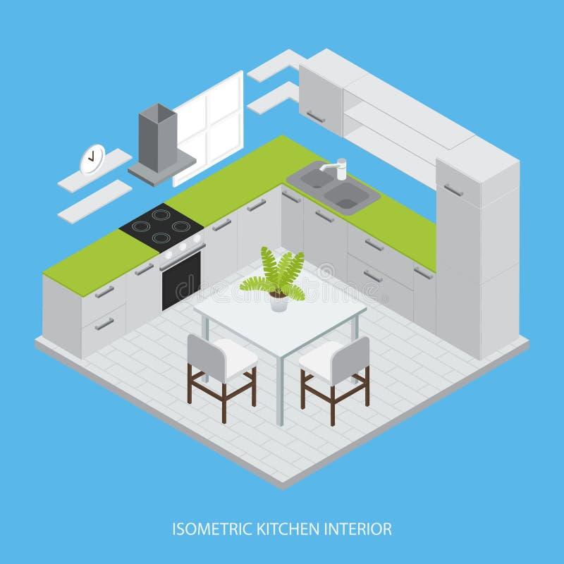 Projeto isométrico interior da cozinha ilustração royalty free