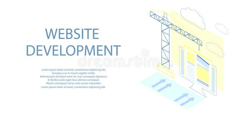 Projeto isométrico liso do Web site sob a construção, processo de construção do página da web, disposição de formulário do local  ilustração do vetor