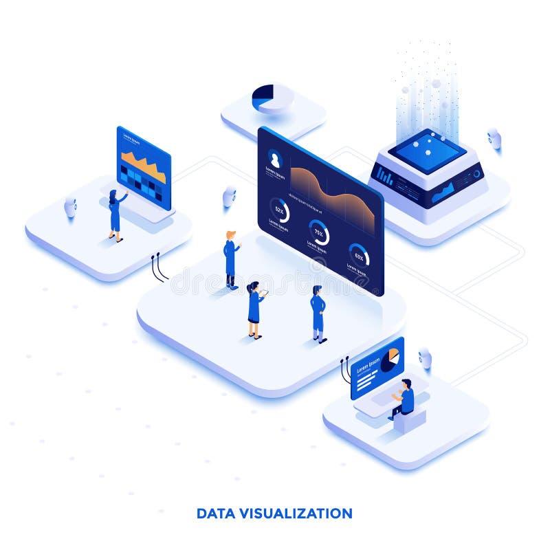 Projeto isométrico moderno da ilustração da cor lisa - visualização dos dados ilustração do vetor