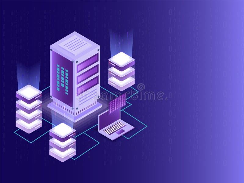 Projeto isométrico para Data Center, o servidor de dados grande e o serviço local ilustração royalty free