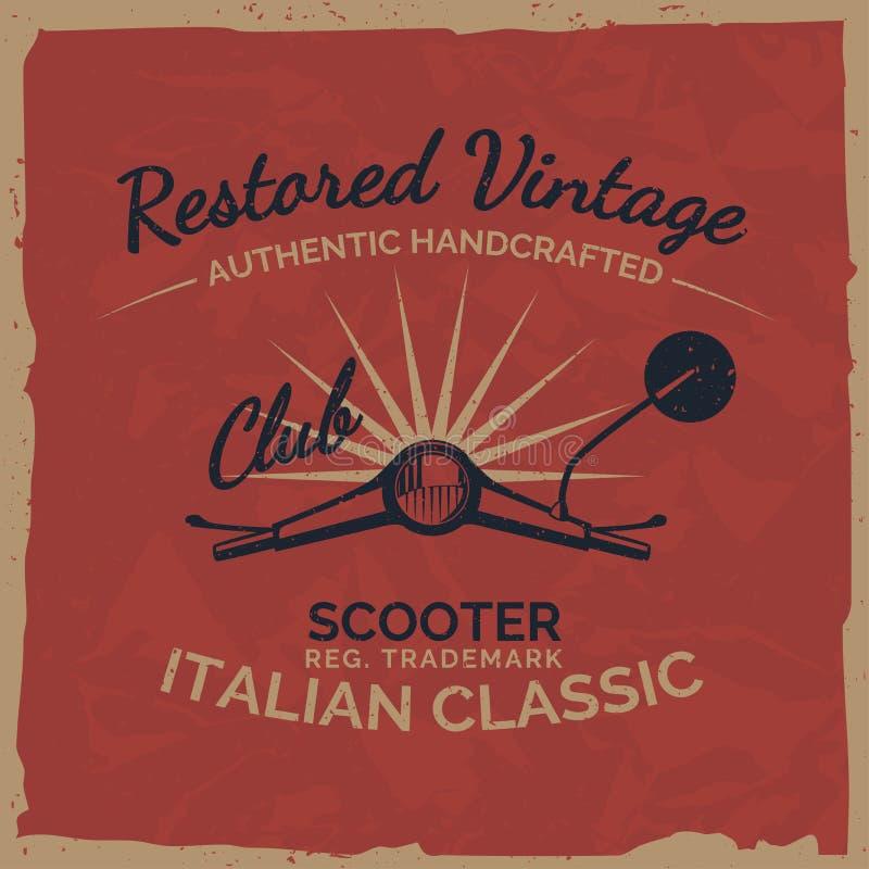 Projeto italiano da cópia do T do 'trotinette' do vintage com textura do grunge ilustração stock