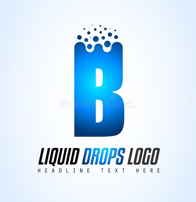 Projeto líquido criativo do logotipo da letra de gotas para a identidade de marca, COM ilustração stock