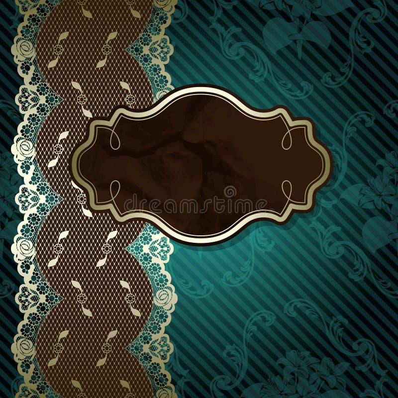 Projeto laçado com etiqueta marrom na obscuridade - verde ilustração royalty free