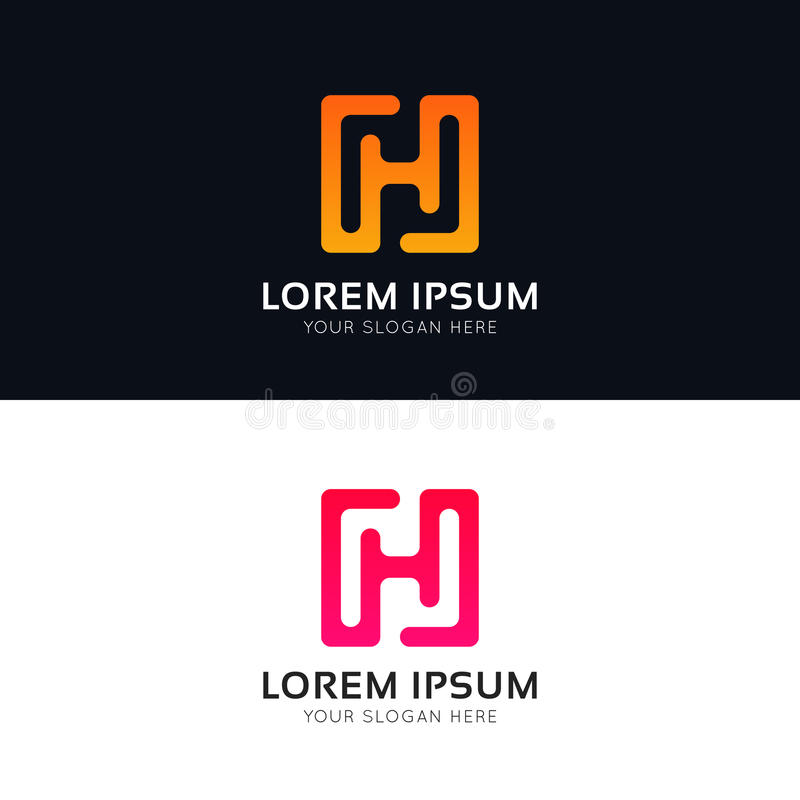 Projeto limpo do sinal do ícone da empresa do logotipo abstrato de H ilustração stock