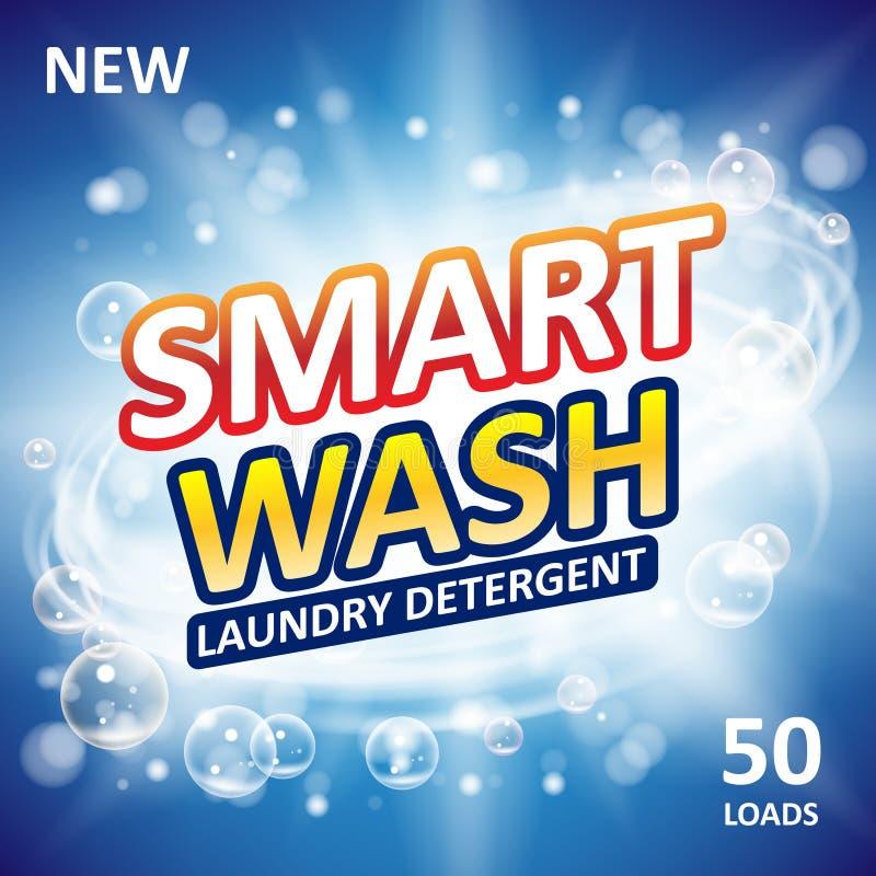 Projeto limpo esperto dos anúncios da bandeira do sabão Molde limpo fresco do detergente para a roupa Pó de lavagem ou pacote dos ilustração do vetor