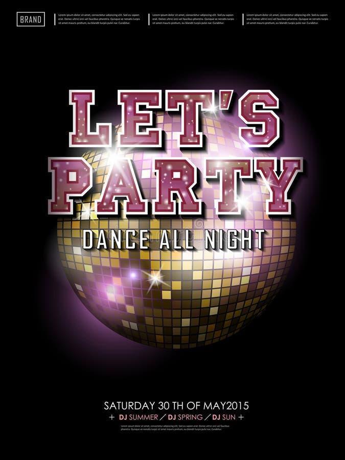 Projeto lindo do cartaz do dance party ilustração royalty free