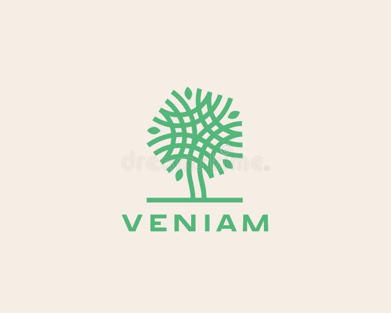 Projeto linear abstrato do ícone do logotipo da árvore do vetor Símbolo contínuo superior luxuoso universal ilustração stock