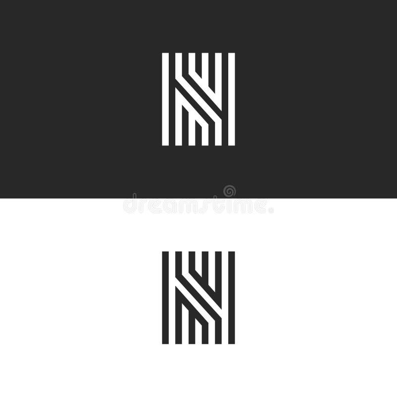 Projeto linear do labirinto do vetor do ícone do logotipo da letra N Símbolo ornamentado criativo refinado da identidade do sinal ilustração stock
