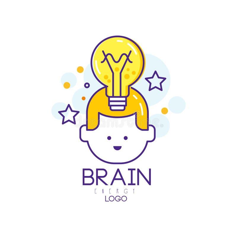 Projeto linear do logotipo do vetor com cabeça da criança, a ampola e as estrelas Caçoa a instrução Conceito do pensamento e da i ilustração stock