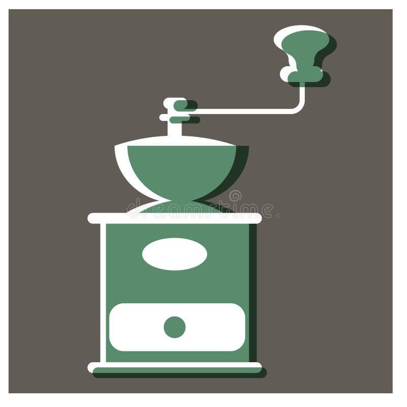 Projeto liso acessível da ilustração do moinho de café ilustração royalty free