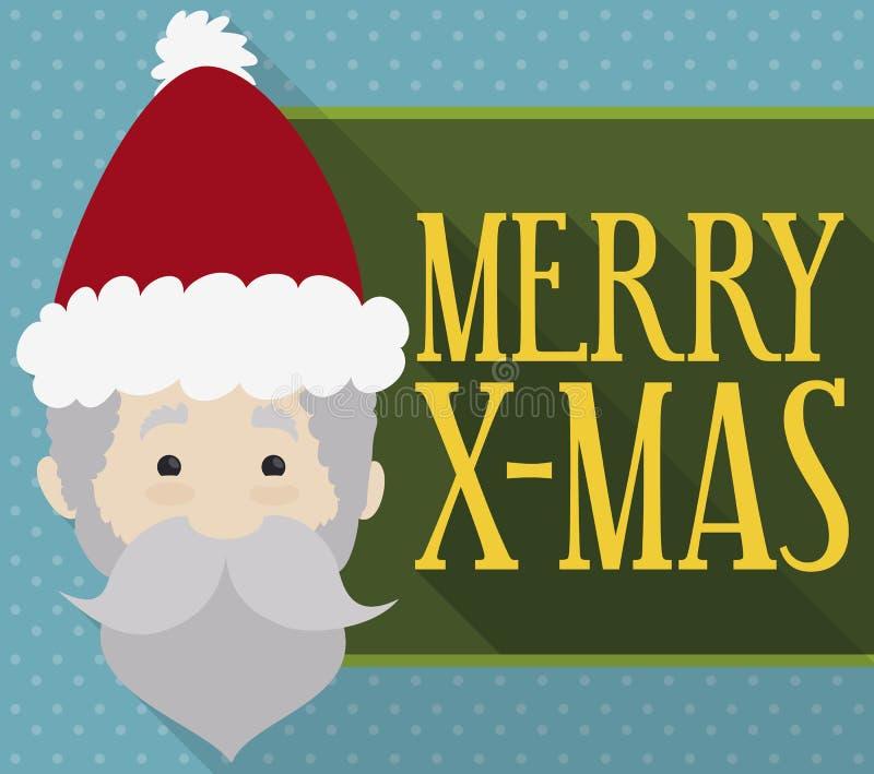 Projeto liso bonito com Santa Claus e um sinal comemorativo, ilustração do vetor ilustração stock
