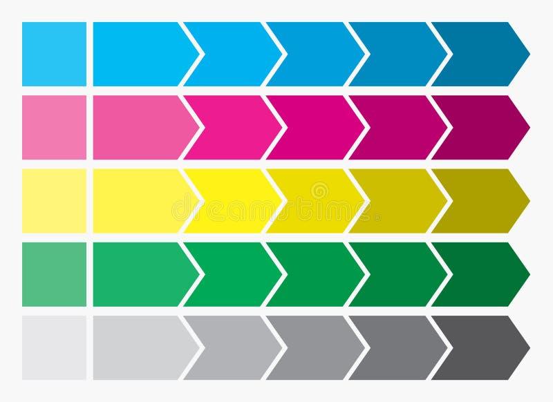 Projeto liso Caixas das setas do processo Grupo passo a passo Cinco etapas ilustração do vetor