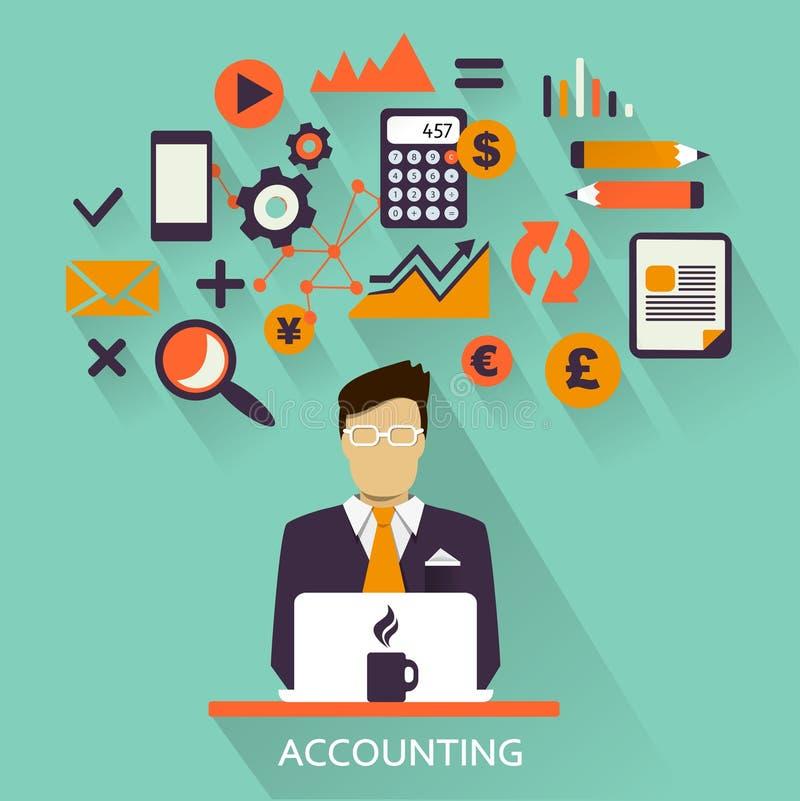Projeto liso Carreira autônomo contabilidade ilustração stock