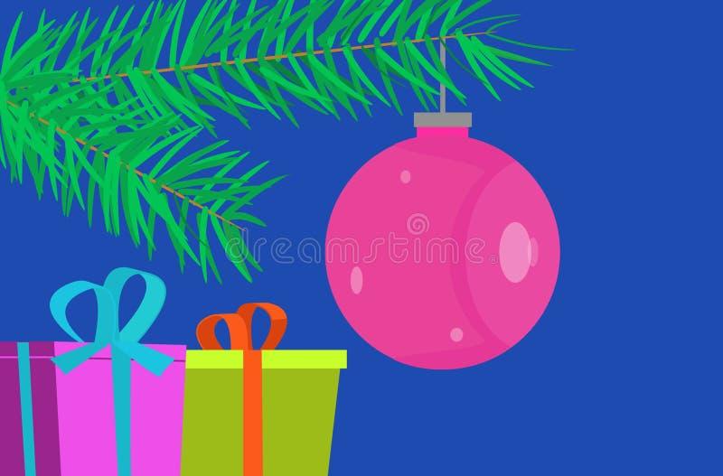 Projeto liso, cartão de Natal com quinquilharia e presentes ilustração stock