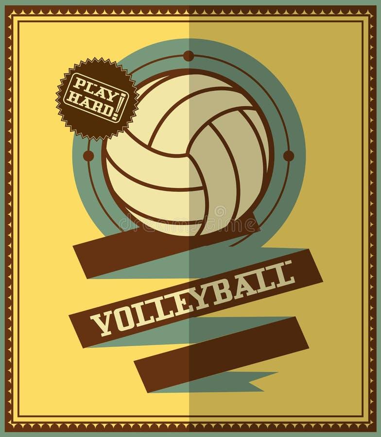 Projeto liso Cartaz do voleibol ilustração do vetor