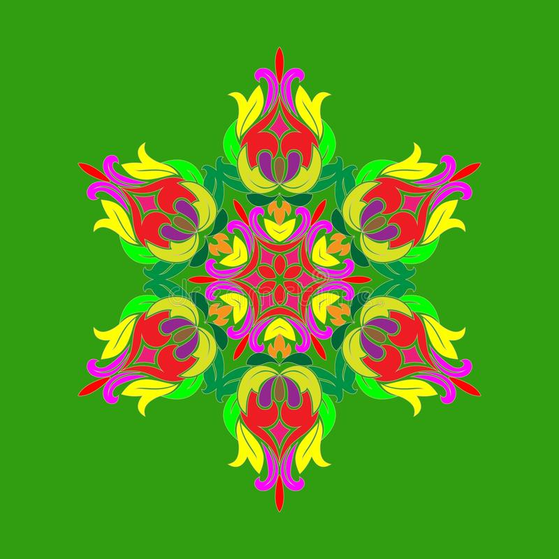 Projeto liso com os flocos de neve coloridos abstratos isolados no fundo verde Mandala dos flocos de neve do vetor ilustração stock